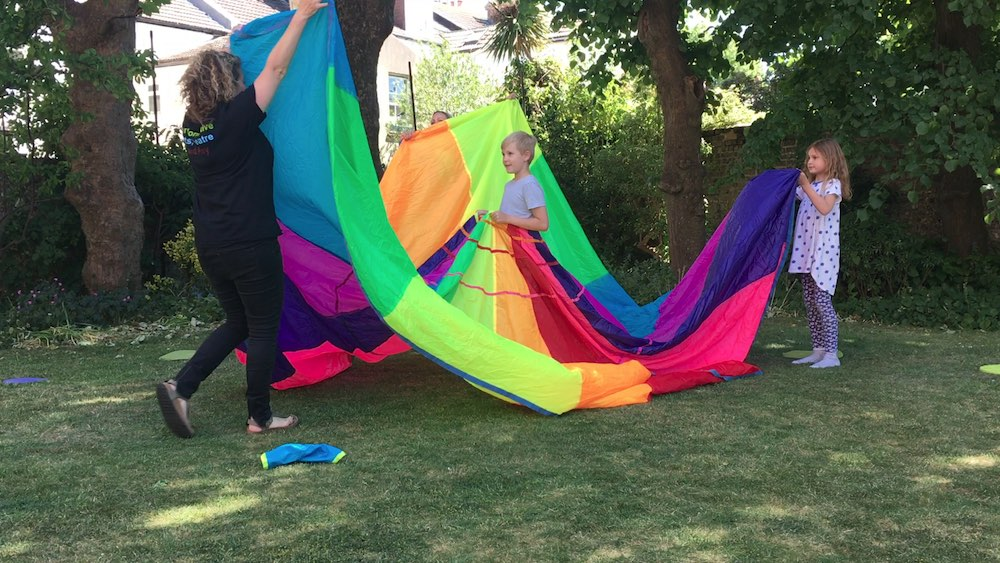 Swirling parachute dress